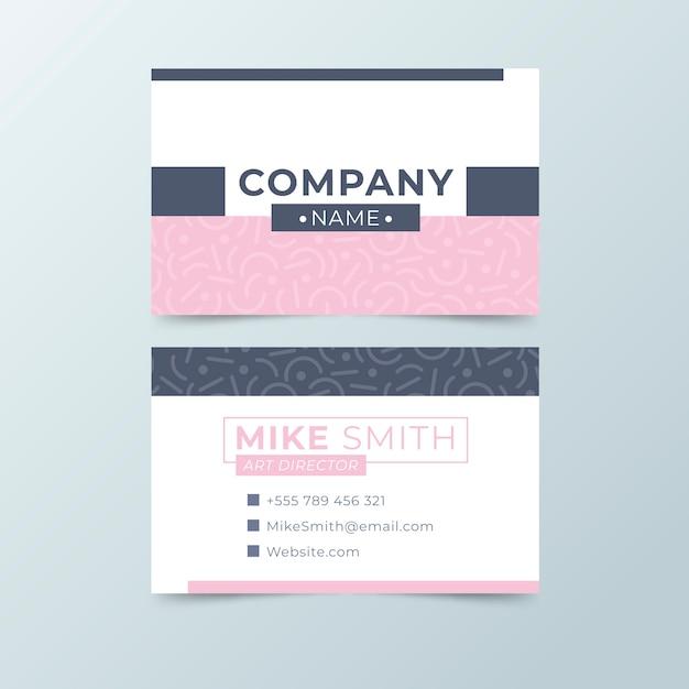 ピンクとブルーの色調のシンプルな名刺テンプレート 無料ベクター