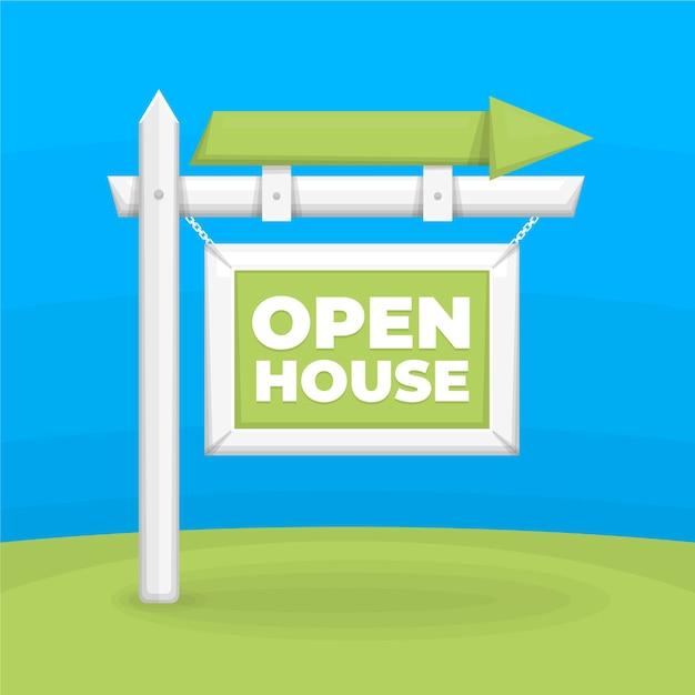 屋外の矢印で販売のためのオープンハウス 無料ベクター