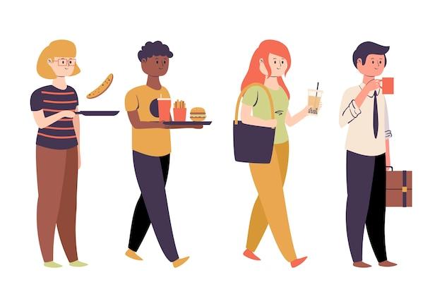 食物を持つ多様な人々 無料ベクター