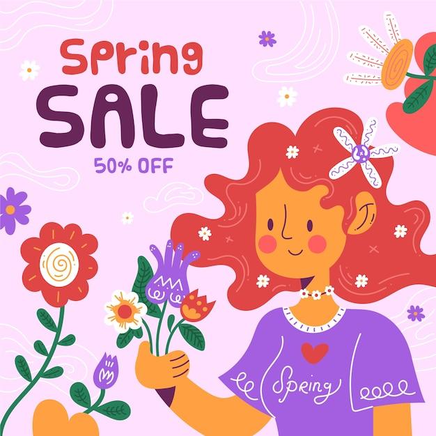 Плоская весенняя распродажа с яркими цветами и изображением девушки Бесплатные векторы