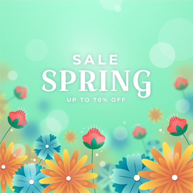 Размытое изображение весенней распродажи с цветами Бесплатные векторы