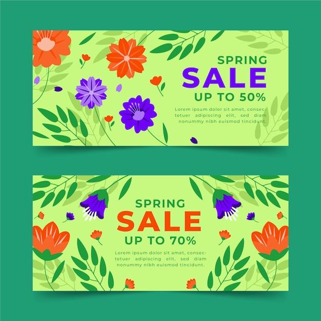 Ручной обращается весенние продажи горизонтальные баннеры со скидками Бесплатные векторы