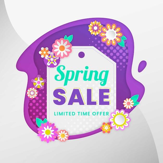 フラットなデザインの春販売バナー 無料ベクター