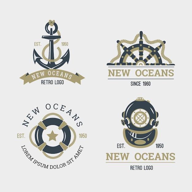 Коллекция ретро морского логотипа Бесплатные векторы