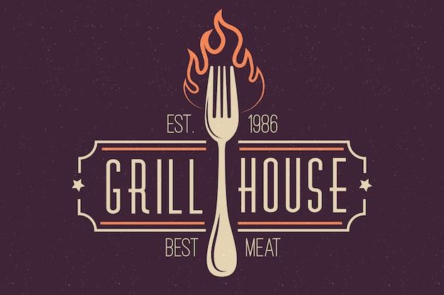 Ретро ресторан логотип с вилкой Бесплатные векторы