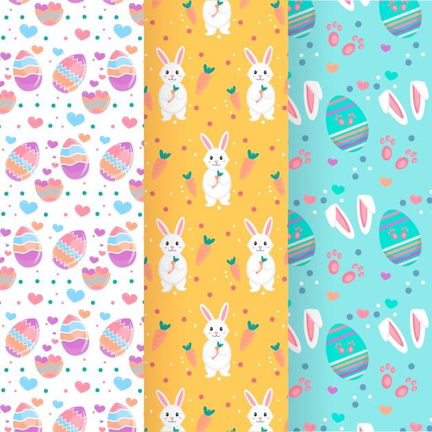 卵とウサギとイースターの日のパターンのコレクション 無料ベクター