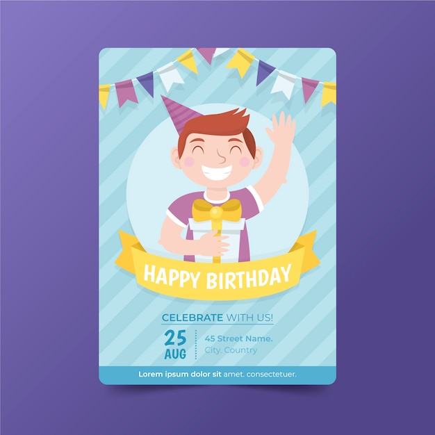 子供の誕生日カードの招待状のテンプレート 無料ベクター