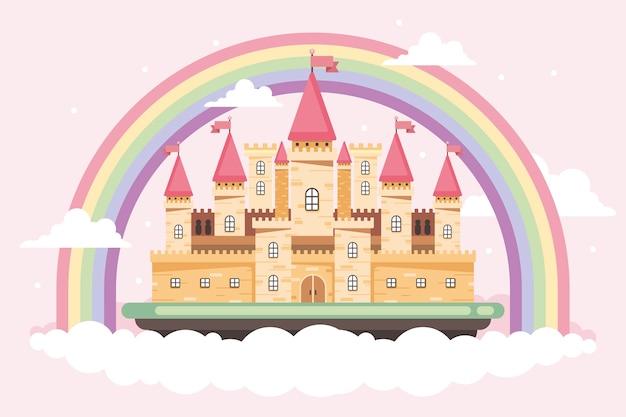 雲と虹のおとぎ話の城 無料ベクター