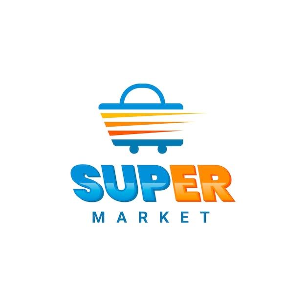 スーパーマーケットのビジネスロゴテンプレートコレクション 無料ベクター