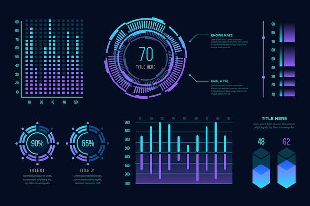 グラデーションの未来的なインフォグラフィック 無料ベクター
