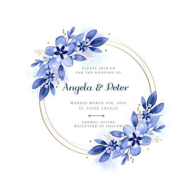 Свадебная цветочная рамка-приглашение Бесплатные векторы