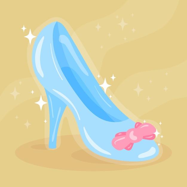 シンデレラのガラスの靴と輝き 無料ベクター