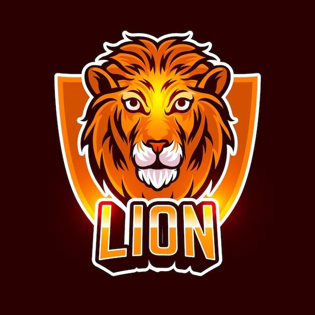 オレンジ色のライオンマスコット事業会社のロゴ 無料ベクター
