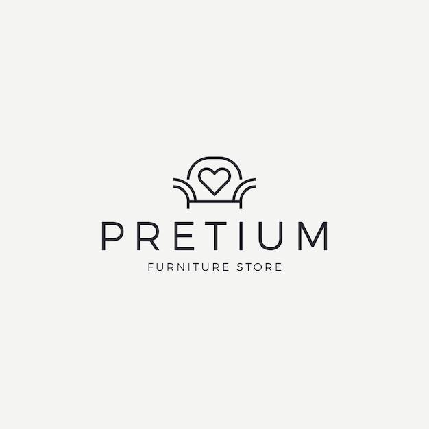 店のエレガントな家具ロゴ 無料ベクター
