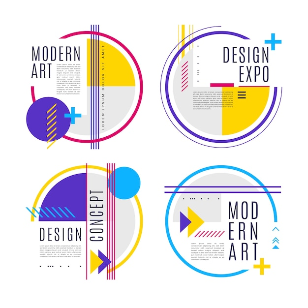 Графический дизайн этикетки в геометрическом дизайне Бесплатные векторы