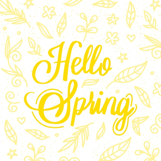こんにちは春レタリング挨拶 無料ベクター