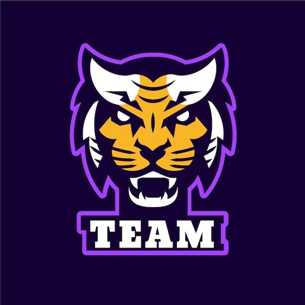 虎とマスコットのロゴ 無料ベクター