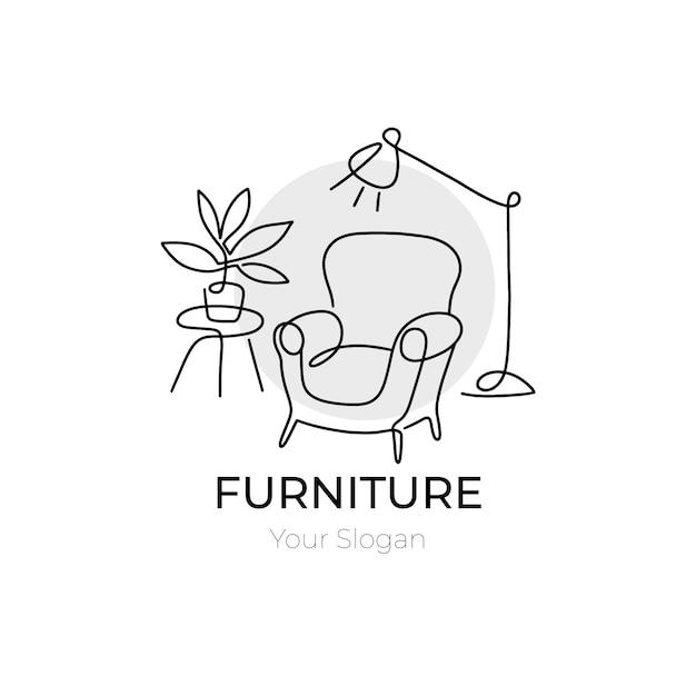 シンプルな家具のロゴの背景 無料ベクター