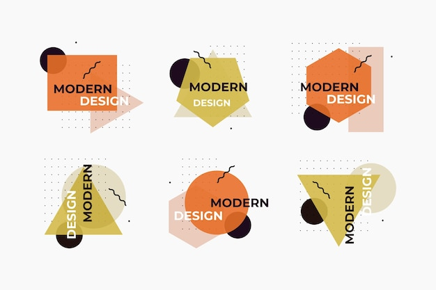 Геометрический стиль графического дизайна этикетки Бесплатные векторы