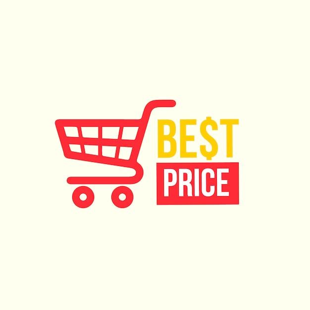 Дизайн логотипа супермаркета с красной тележкой Бесплатные векторы