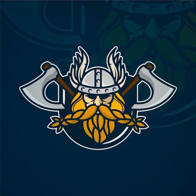 バイキングマスコットのロゴのテンプレート 無料ベクター