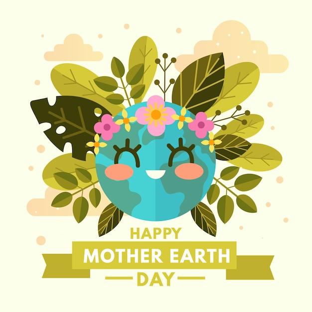かわいい惑星と幸せな母地球の日 無料ベクター