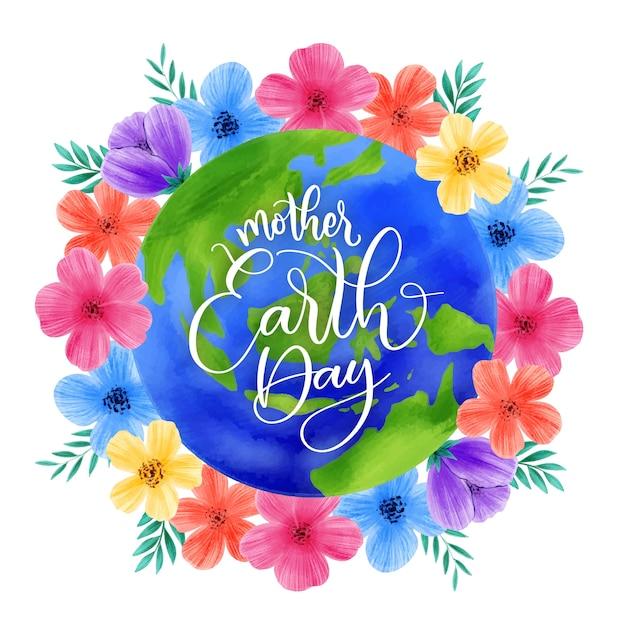花とカラフルな母地球の日 無料ベクター
