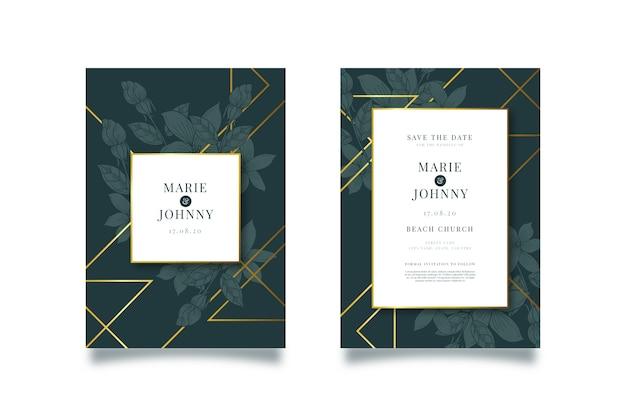Шаблон роскошного свадебного приглашения Бесплатные векторы