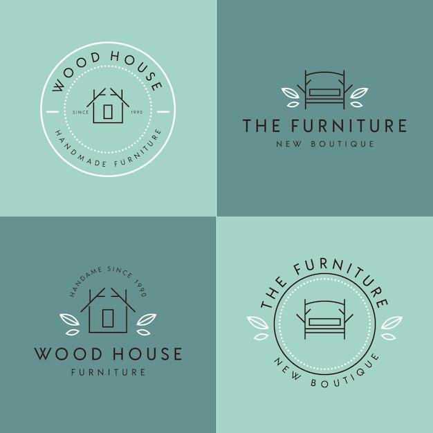 家具のロゴミニマリストデザイン 無料ベクター