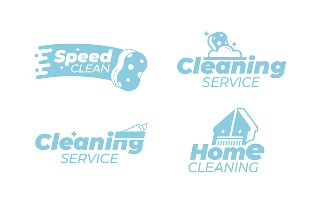 Чистка логотипа дизайн коллекции Бесплатные векторы