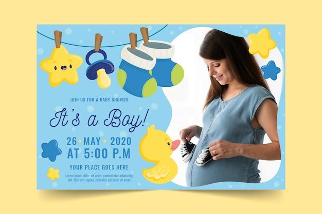 写真と赤ちゃん男の子シャワーの招待状 無料ベクター