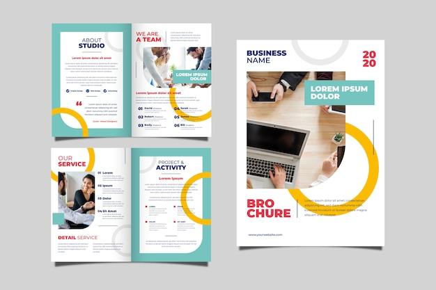 ビジネスパンフレットのコンセプトのセット 無料ベクター