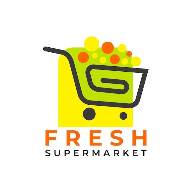 ショッピングカートのスーパーマーケットのロゴのテンプレート 無料ベクター