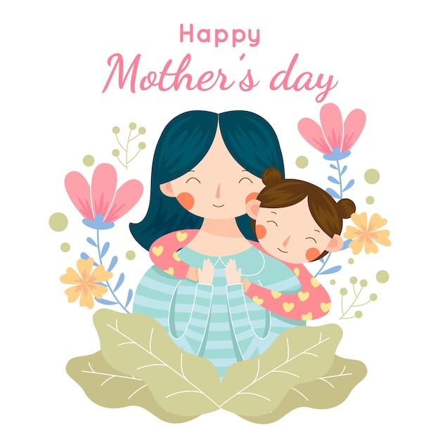 День матери с ребенком Бесплатные векторы