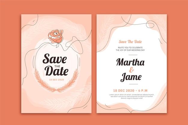 Элегантный шаблон свадебного приглашения Бесплатные векторы