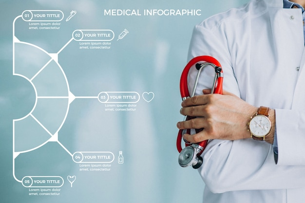 Шаблон коллекции медицинской инфографики Бесплатные векторы