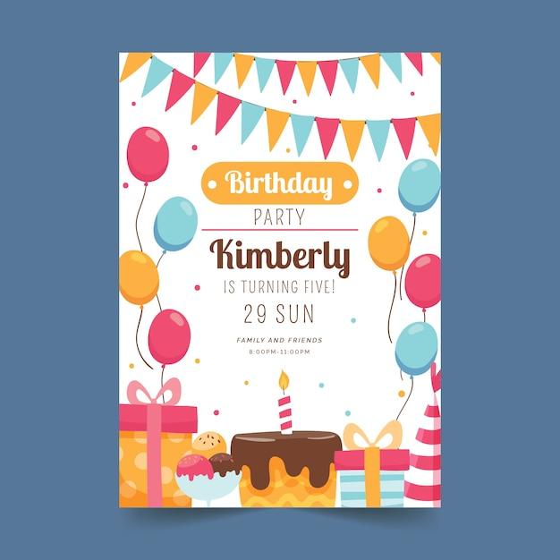 Детская открытка на день рождения Бесплатные векторы