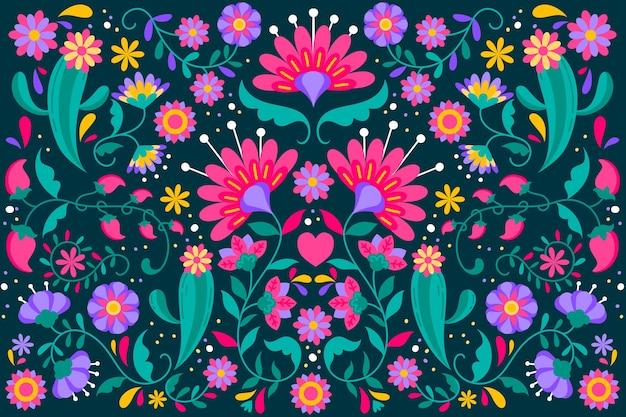 花のメキシコの背景 無料ベクター