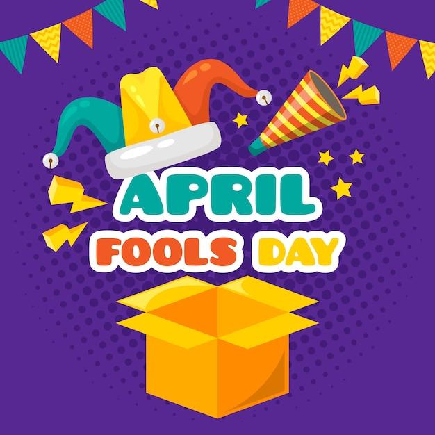 Апрельский день дураков плоский стиль Бесплатные векторы