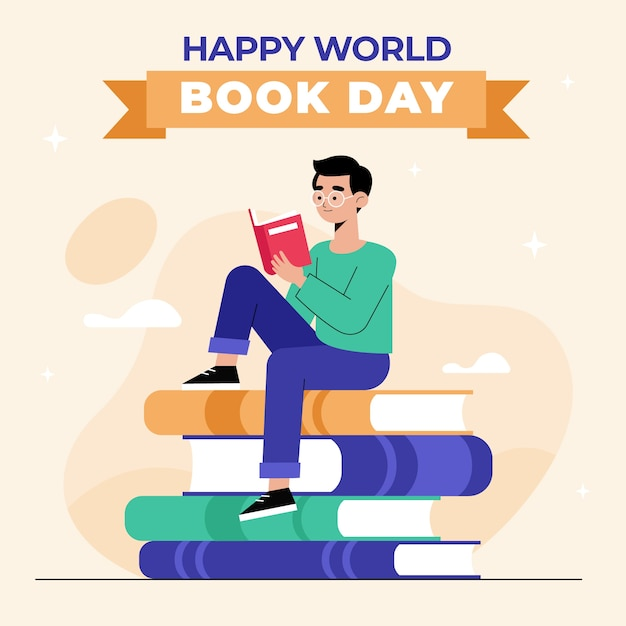 Плоский дизайн всемирный день книги Бесплатные векторы