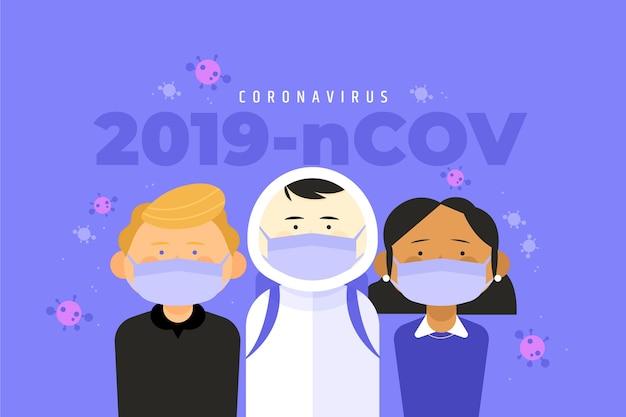 Иллюстрация с концепцией коронавируса Бесплатные векторы