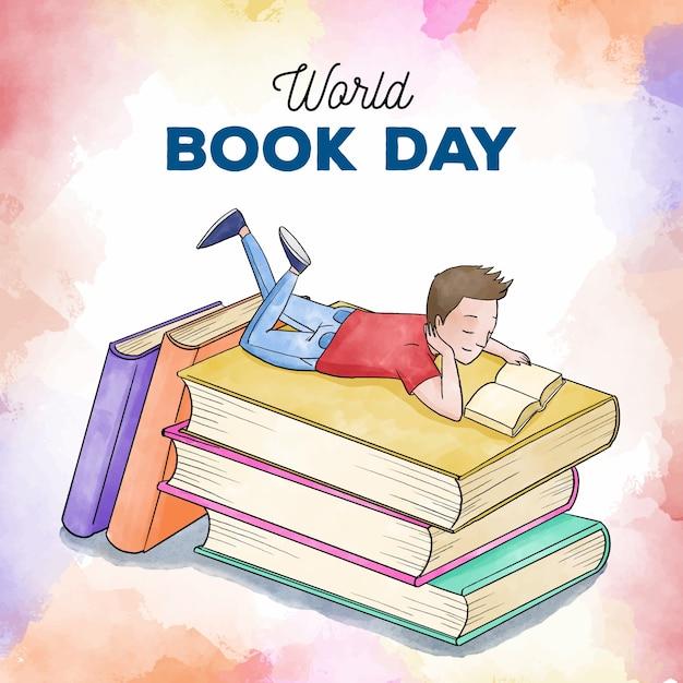 水彩の世界の本の日 無料ベクター