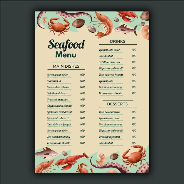 Шаблон меню морепродуктов Бесплатные векторы