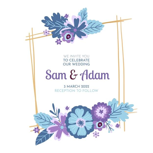 Свадебное торжество в цветочной рамке Бесплатные векторы