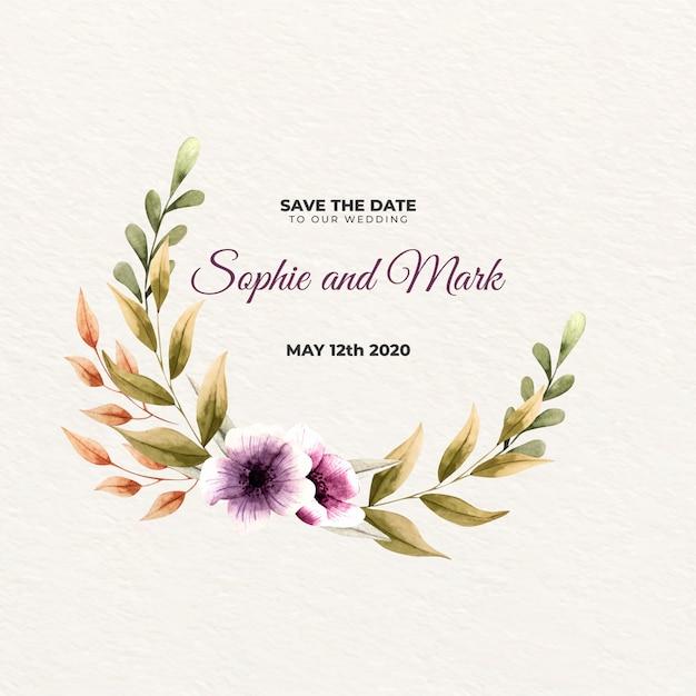 Свадебная цветочная рамка Бесплатные векторы