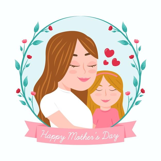 手描きの母と娘と母の日イラスト 無料ベクター