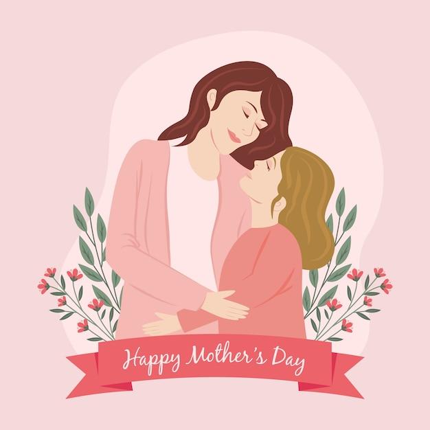 母と娘と手描きの母の日イラスト 無料ベクター