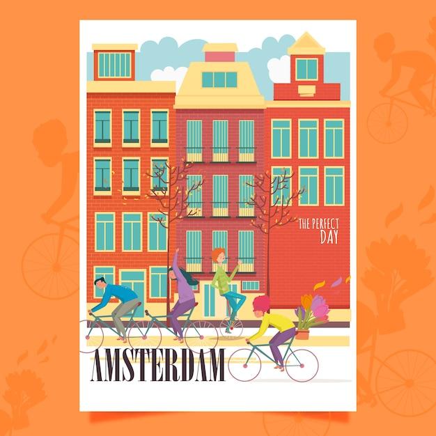 アムステルダムのポスター 無料ベクター
