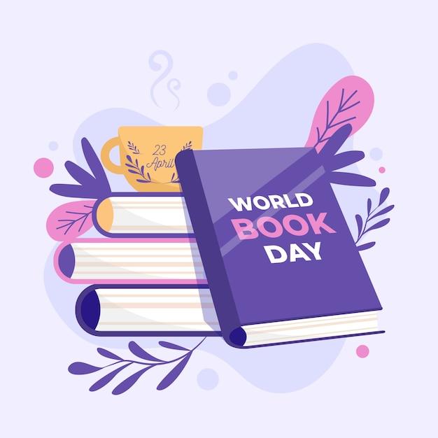 Плоский дизайн всемирный день книги дизайн Бесплатные векторы