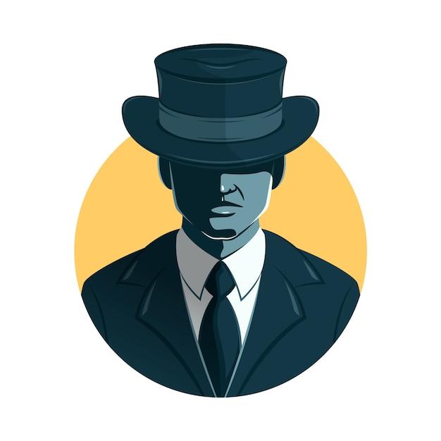 帽子で彼の目を覆っているマフィアの男性キャラクター 無料ベクター